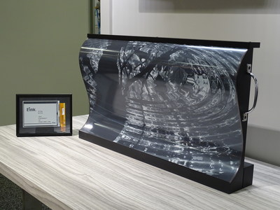 "E Ink's 32"" inch flexible display for digital signage applications in transportation and other public information systems"
