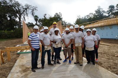 Members of Just Energy's Customer Service Staff in Texas take part in a Habitat for Humanity Build Day