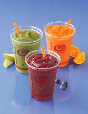 Jamba Juice's Fruit & Veggie Smoothies with 3 full servings of vegetables and fruit are three of the 22 Drinks that are 250 Calories or Less.  (PRNewsFoto/Jamba Juice Company, David Campbell)
