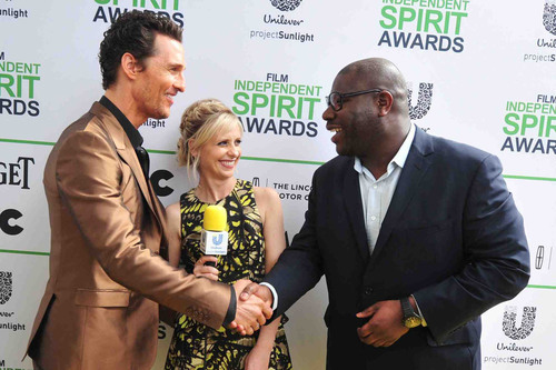 SANTA MONICA, CA - MARCH 01: Inspired by the power of film to motivate change, Unilever Project Sunlight ambassador Sarah Michelle Gellar, Actor Matthew McConaughey (L) and Director Steve McQueen (R) talk about creating a brighter future on the Yellow Carpet presented by Unilever Project Sunlight during the 2014 Film Independent Spirit Awards at Santa Monica Beach on March 1, 2014 in Santa Monica, California. (Photo by Mark Sullivan/WireImage).  (PRNewsFoto/Unilever North America)