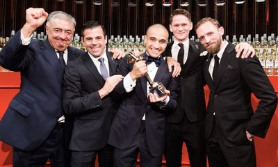 2015 winner Franck Dedieu celebrates with judges, left to right: Jose Sanchez Gavito; Ago Perrone; Franck ...