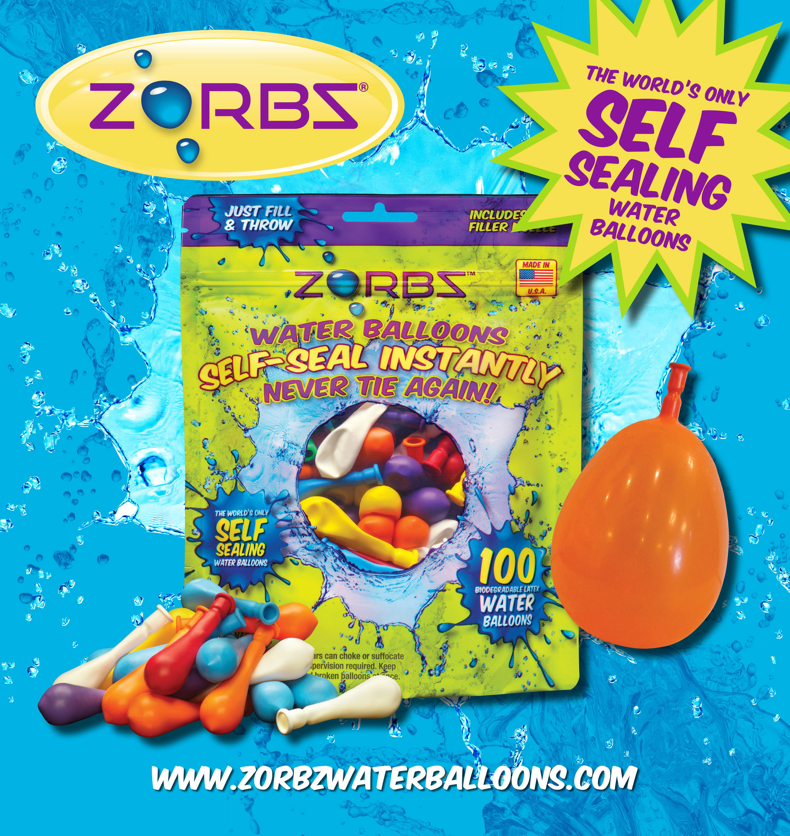 ZORBZ(R) is the world's first self-sealing water balloon. Its patented Insta-Seal(TM) technology eliminates the pain and frustration involved with tying water balloons. ZORBZ truly adds hours of fun to spend outdoors with the family and ensures you will never have to tie a water balloon again! Check out the new Combat Toy Line at the Hydro Toys, LLC booth #6269 at the New York Toy Fair, February 14-17th. These toys blast away the competition and open up a whole new way to have fun this summer!