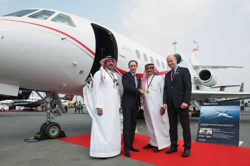 FROM LEFT TO RIGHT: Fahad Suliman Wallan, VP Operation, Wallan Aviation, Gilles Gautier VP Sales, Dassault ...