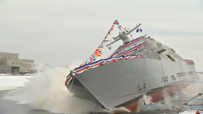 The 11th littoral combat ship, the future USS Sioux City, is christened and launched into the Menominee River in Marinette, Wis., Jan. 30, 2016.