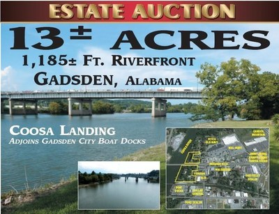 Estate Auction 11/3/2016! 13+/-acres with 1,185 feet of water frontage. Gadsden, Alabama. Visit: www.National-Auction.com or call 800-649-8720 or 256-490-3066 for more details