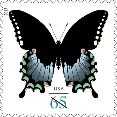 Beautiful butterfly stamps begin fluttering across the nation's mail stream today now that the Postal Service has issued the two-ounce Spicebush Swallowtail Butterfly First-Class stamps with the 66 cent 2 ounce rates. Customers may purchase the stamps at usps.com/stamps, by phone at 800-STAMP24 (800-782-6724) and at Post Offices nationwide to prepare for the 1-cent price change that goes into effect Jan. 27.  (PRNewsFoto/U.S. Postal Service)