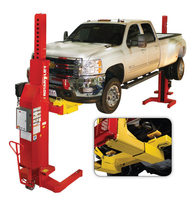 With the Rotary Lift frame adapter kit, shop operators can lift Class 3 and most Class 4 trucks with just two Mach(TM) series mobile columns instead of four. The columns are positioned at the front and back of the vehicle and engage the frame, so wheels can easily be removed for service without the use of jack stands. Each frame adapter kit comes with two connectors that slide over the Mach series(TM) standard forks, thereby reducing the capacity of the two columns. The connectors are fitted with stackable frame-engaging adapters that hold the vehicle. (PRNewsFoto/Rotary Lift)