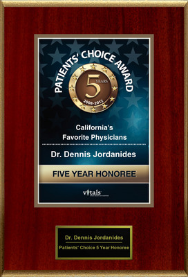 Dr. Dennis Jordanides of Newport Beach, CA is a Five-Time Patients' Choice Honoree.  (PRNewsFoto/American Registry)