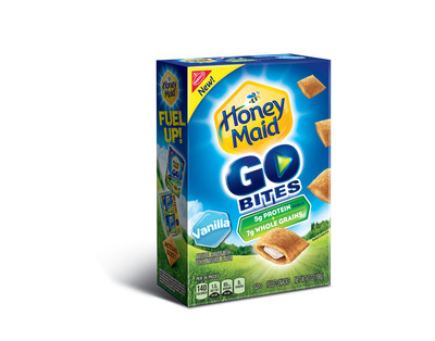 Honey Maid Go Bites Filled Snacks are crispy graham pockets filled with delicious ingredients kids can love together with 7g of whole grains and 5g of protein per 30g serving.