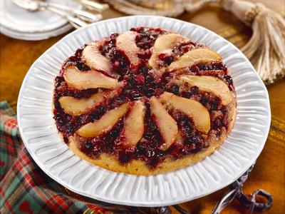 Martha White's Cranberry Pear Upside-Down Almond Cake.  (PRNewsFoto/Martha White)