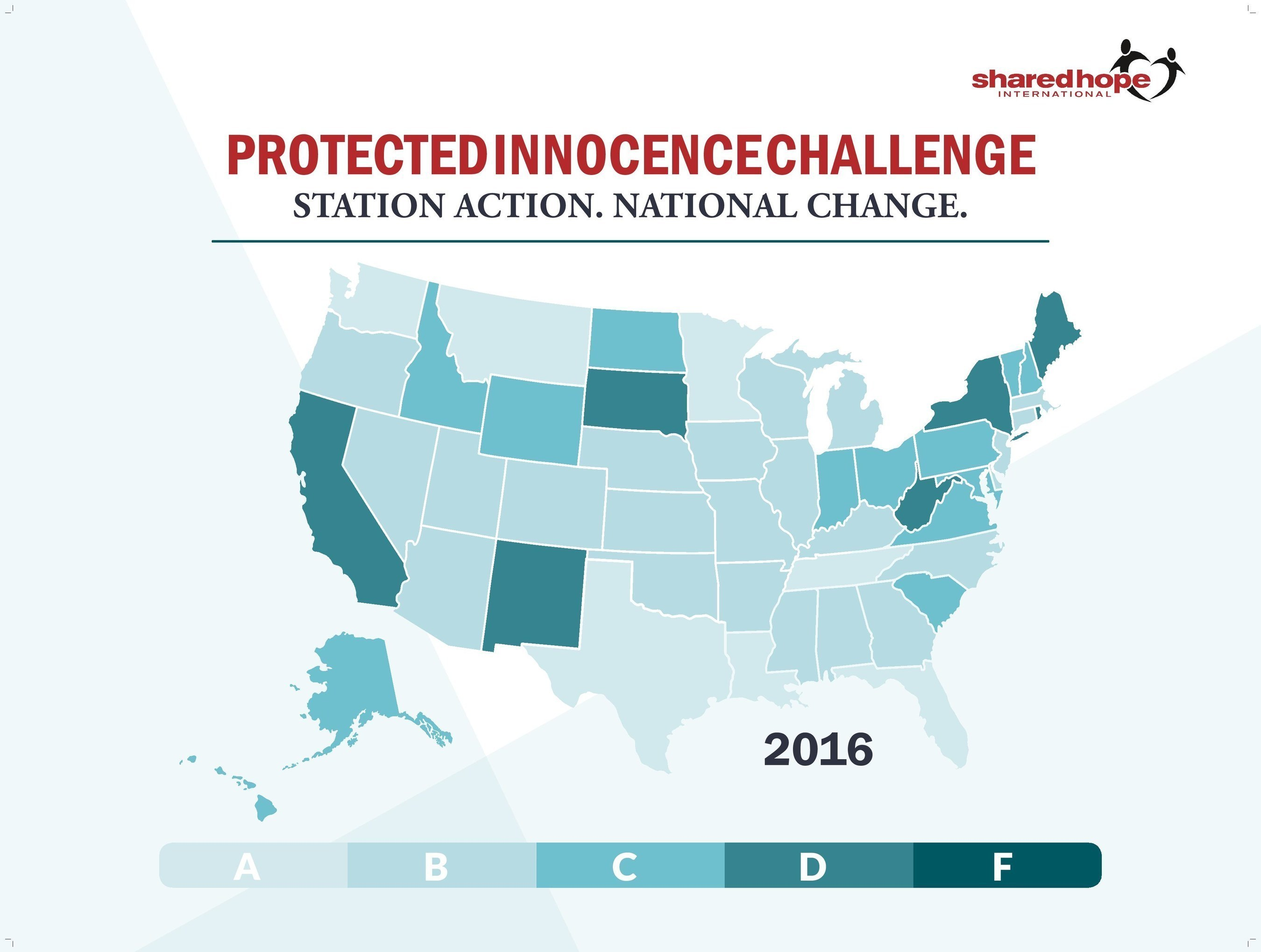 Shared Hope International 2016 Protected Innoncence Challenge State Grades Map