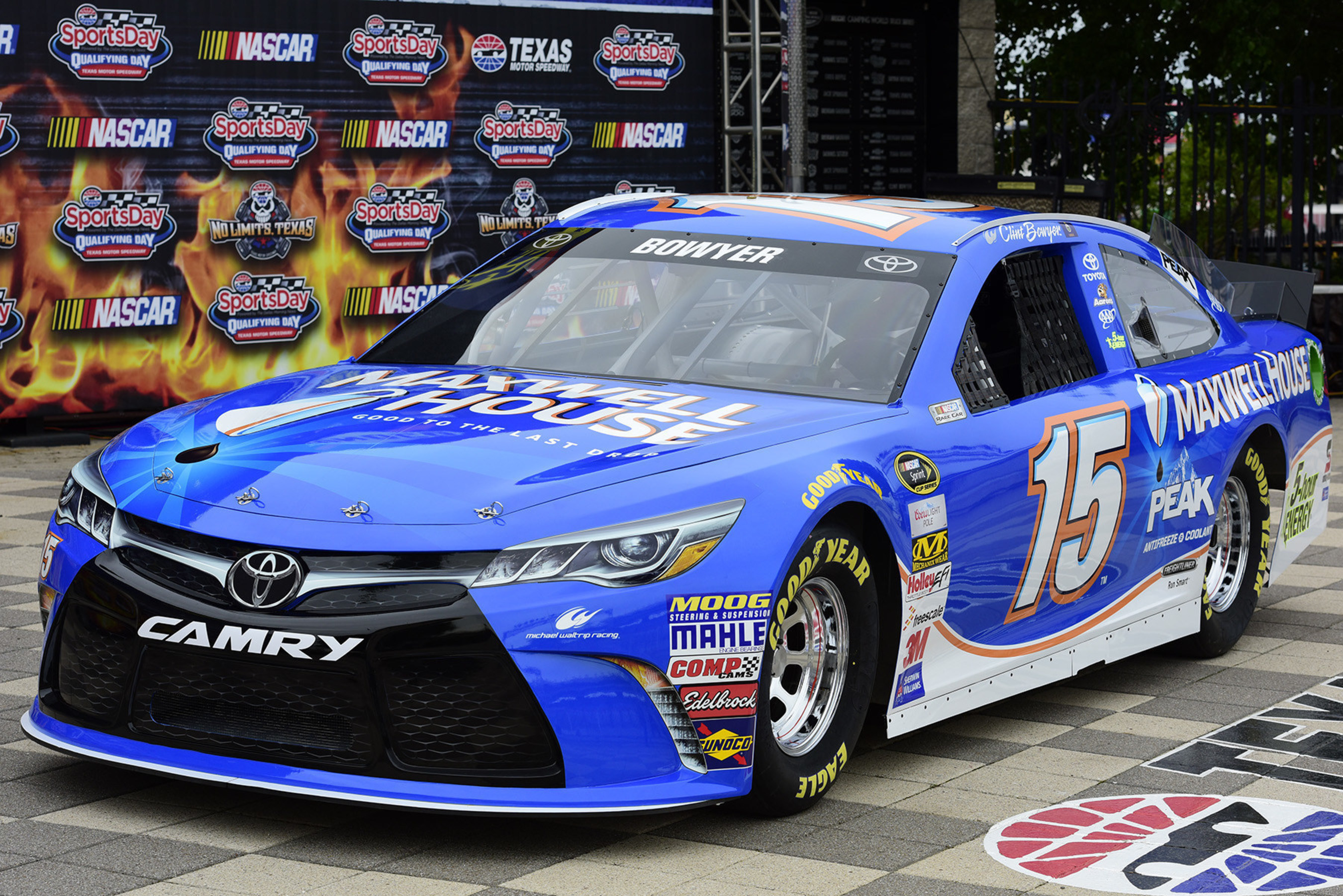 Today, the No. 15 Maxwell House Toyota Camry was unveiled at a press conference at Texas Motor Speedway. Photo credit: Chris Graythen, Getty Images