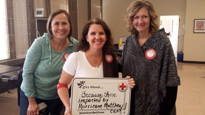 In the aftermath of Hurricane Matthew, three women join together to roll up a sleeve at an American Red Cross blood drive in Minnesota to help patients in need. The Red Cross has a national blood inventory and can move blood products wherever they are needed including storm affected areas in the Southeast where dozens of blood drives have been cancelled.