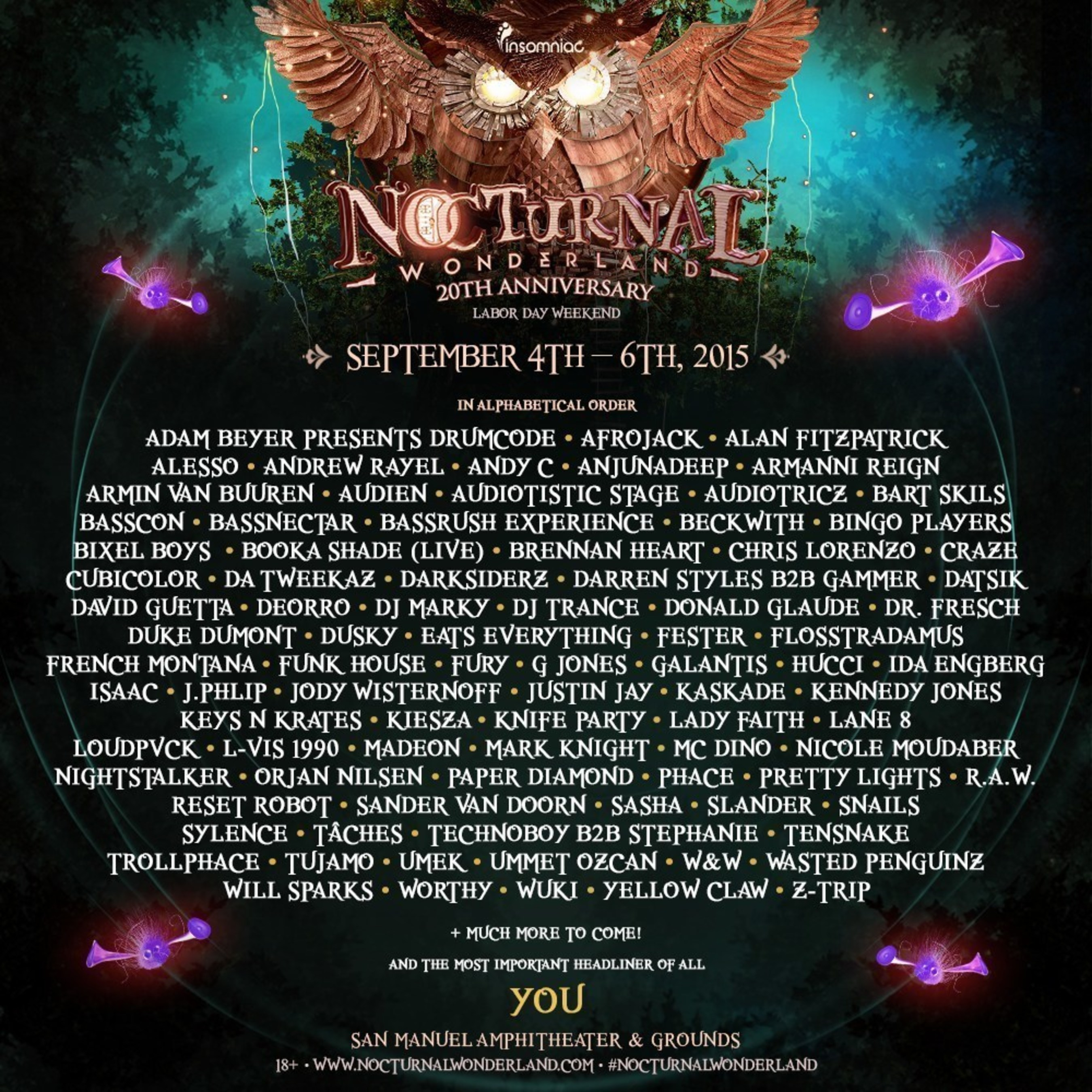 Insomniac Reveals Impressive Artist Line-Up for 20th Anniversary of Nocturnal Wonderland