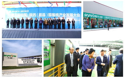 Government Leaders Visit SkyPeople Kiwi Fruit Industrial Park during the Kiwi Trade Fair in Mei County