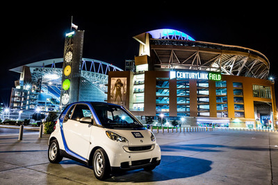 car2go celebrates one year of carsharing in Seattle with more than 40,000 members and 500 cars.  (PRNewsFoto/car2go North America, LLC)