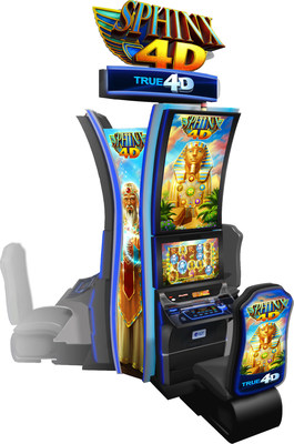 IGT's SPHINX 4D(TM) game on the CrystalCurve(TM) TRUE 4D(TM) cabinet