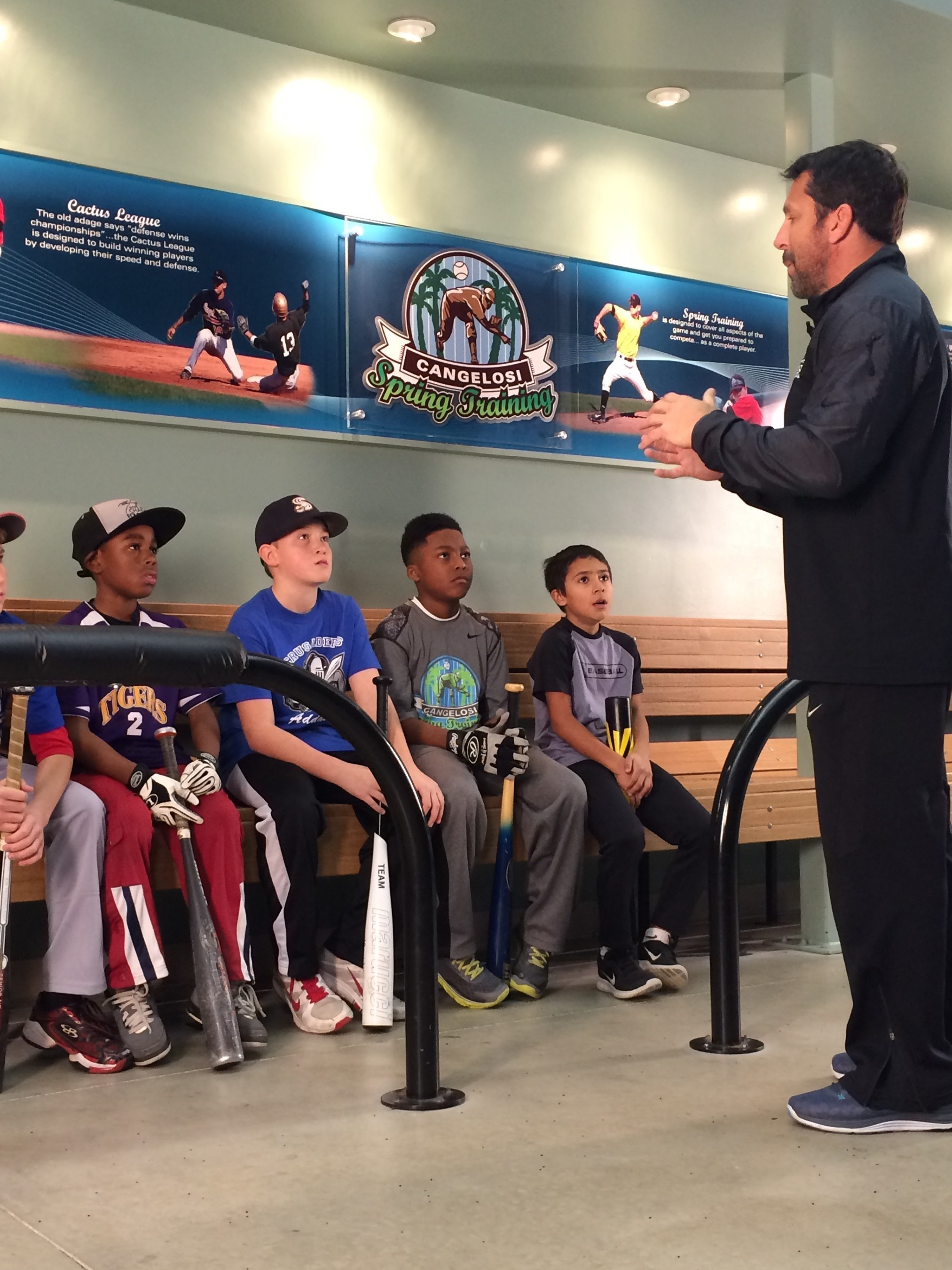 John Cangelosi encouraging young players at the Bo Jackson's Elite Sports Facility in Lockport, IL; the legacy of player development continues with a new facility slated to open in Hilliard, OH in fall of 2016.