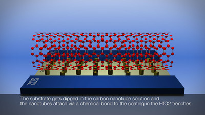 IBM researchers are approaching commercial fabrication of carbon nanotubes, potentially succeeding silicon and resulting in smaller, faster, more powerful computer chips.  (PRNewsFoto/IBM)