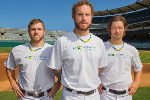 Pro baseball players and Phiten athletes J.B. Shuck, C.J. Wilson and Josh Hamilton contribute to 15 years of success by wearing the Phiten(R) x Be The Match(R) Tornado(TM) Necklace and supporting Phiten's national giving effort. (PRNewsFoto/Phiten) (PRNewsFoto/PHITEN)