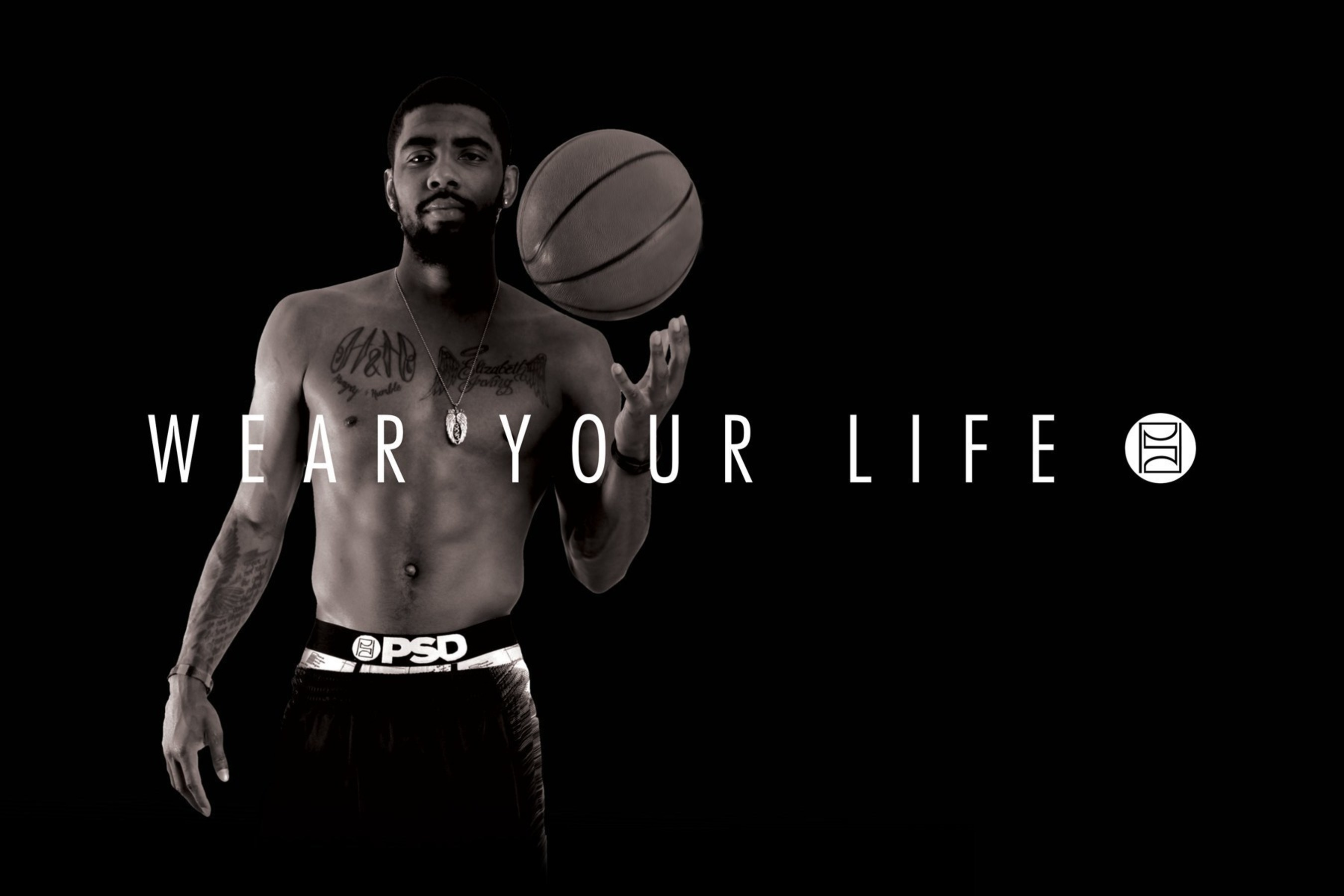 Kyrie Irving, wearing one of the designs from his Holiday signature line from PSD Underwear