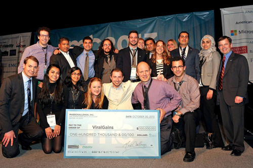 Boston-based startup ViralGains accepting the $100,000 Diamond Prize at this year's MassChallenge Awards ...