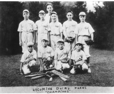 Little League Celebrates 75th Anniversary. Pictured here is Little League Founder Carl Stotz and the Lycoming Dairy team, Williamsport, PA, 1939.