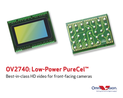 OmniVision's low-power OV2740 PureCel(TM) sensor brings best-in-class HD videos to front-facing cameras in mobile devices.