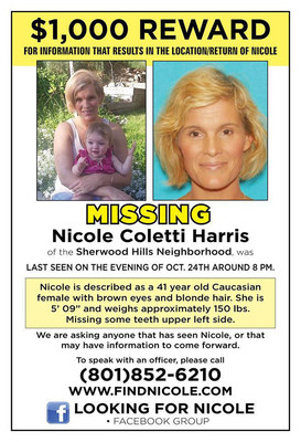 Nicole Coletti Harris disappeared on October 24, 2015, from Provo, Utah. Visit findnicole.com to learn how you can help us to locate and bring home safely this beloved mother of five children.
