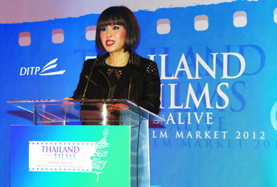 Her Royal Highness Princess Ubolratana Rajakanya Sirivadhana Barnavadi presides over Thai Night at the American Film Market 2012.  (PRNewsFoto/Department of International Trade Promotion, Thai Ministry of Commerce)