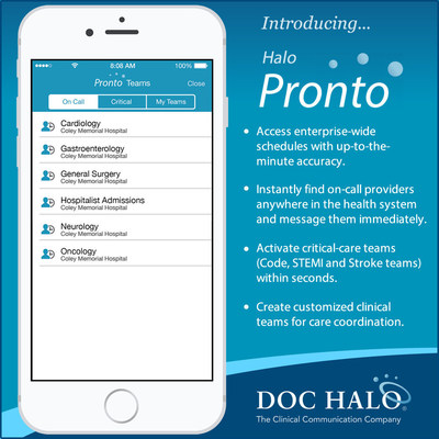 Halo Pronto(TM), the healthcare industry's first-ever enterprise-wide scheduling and messaging system, is now available as part of the Doc Halo clinical communication platform. This game-changing technology will put an end to out-of-date paper schedules and unreliable pagers. Clinicians can now access systemwide schedules, instantly find and message on-call providers, activate critical-care teams, and create customized clinical teams for care coordination. The revolutionary technology connects...