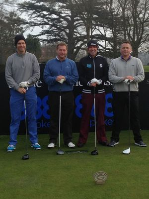 Teeing off -  Cricket Legends Michael Vaughan, Ian Ward, Shane Warne and Darren Gough get ready to take on the course at the Shane Warne Golf Classic.