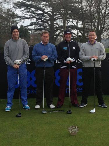 Teeing off - Cricket Legends Michael Vaughan, Ian Ward, Shane Warne and Darren Gough get ready to take on the ...