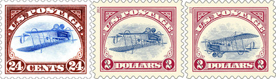 "In a move to attract younger audiences to stamp collecting, the Postal Service recently issued a $2 version of the most famous stamp error in U.S. history - the 24-cent Curtiss Jenny airmail stamp that depicted the airplane flying upside down. A sheet of 100 stamps bearing this error was sold to the public. One stamp sold at auction in 2007 for $977,500. One hundred of 2.2 million $2 stamp sheets of the Jenny flying right-side up were randomly distributed among the nation's post offices to recreate the excitement of finding a stamp ""error.""  (PRNewsFoto/U.S. Postal Service)"