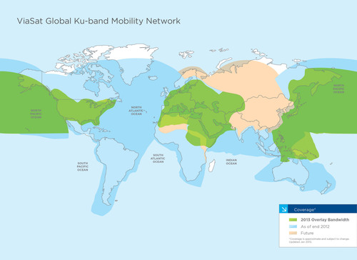 ViaSat Inc. is increasing the total Ku-band capacity of its global mobility network by more than 60 percent for  ...