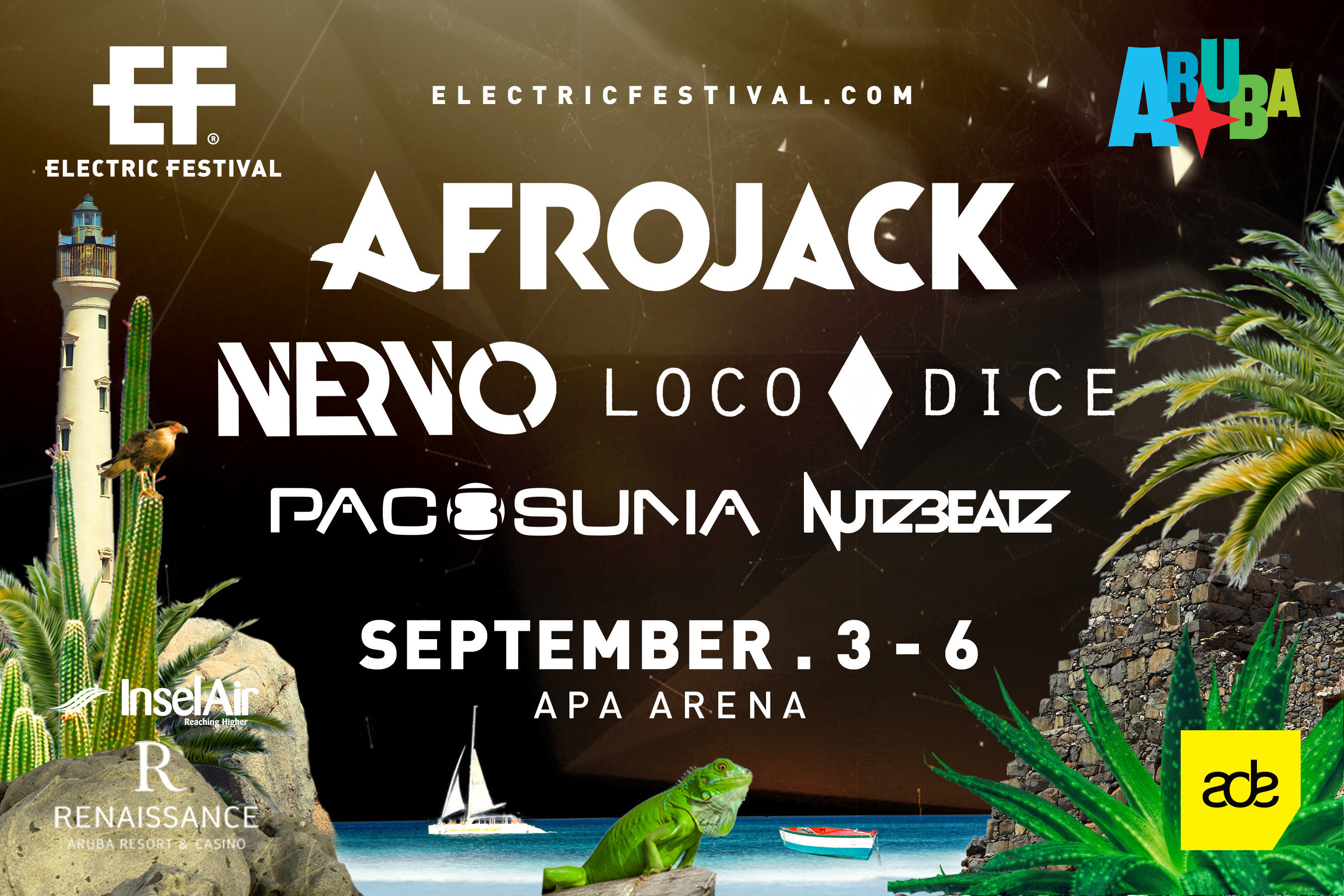 The full lineup for Electric Festival in Aruba on #LaborDayWeekend.