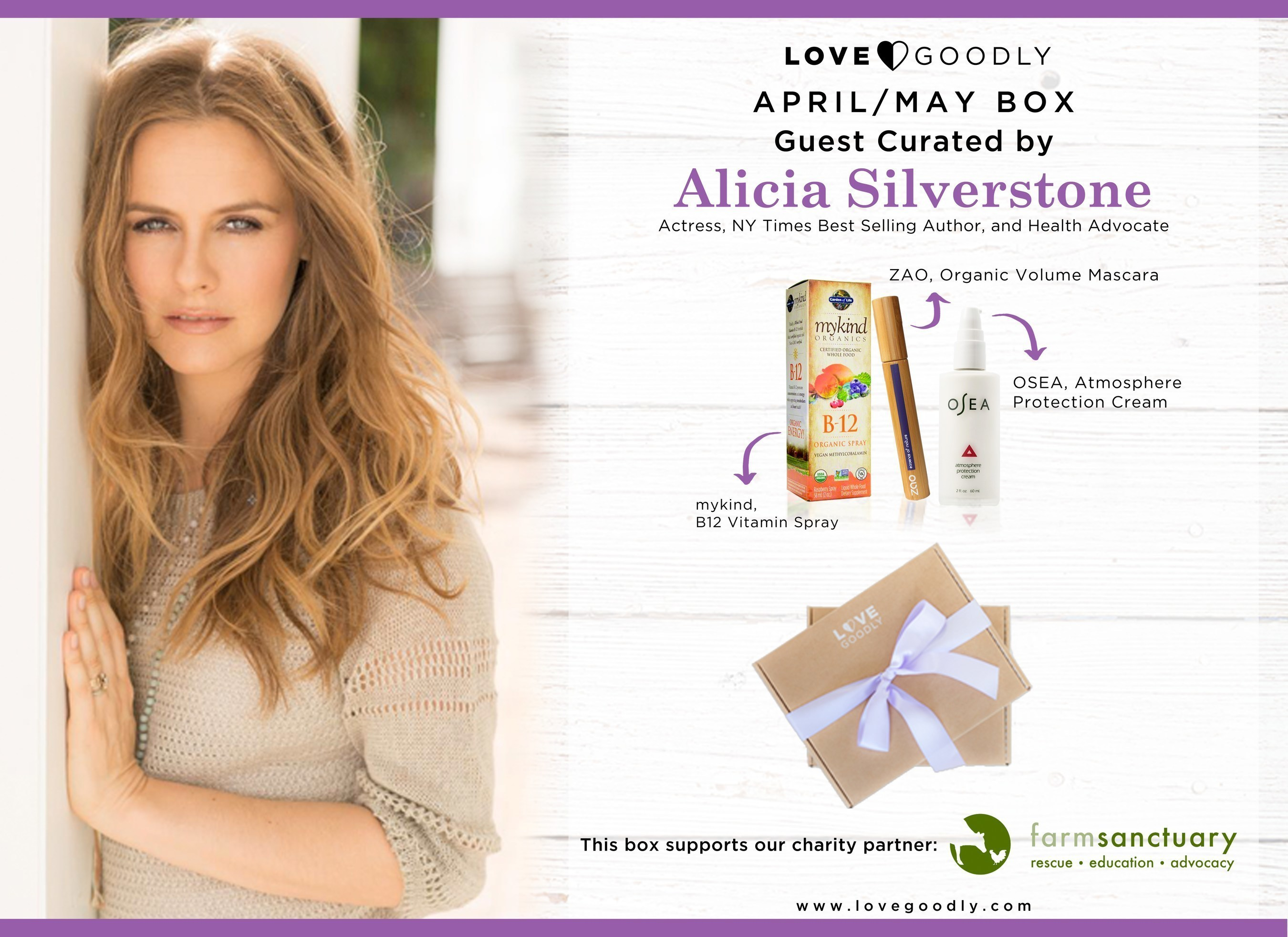 Alicia Silverstone Guest Curates the LOVE GOODLY April/May Box to Celebrate Earth Day and Support Farm Sanctuary!