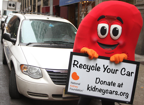 Sidney the Kidney Urges Americans To Go Green by Donating Cars to the National Kidney Foundation.  ...