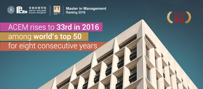 ACEM rises to 33rd in 2016 among world's top 50 for eight consecutive years