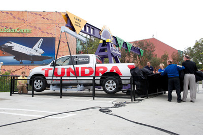 Today, the California Science Center and Toyota Motor Sales, U.S.A., Inc. unveiled the Toyota Tundra full-size pickup truck used to tow space shuttle Endeavour over the 405 Freeway Manchester Boulevard Bridge during its historic journey through Los Angeles and Inglewood Streets. The Tundra is now part of the science center's Giant Lever Exhibit.  (PRNewsFoto/Toyota)