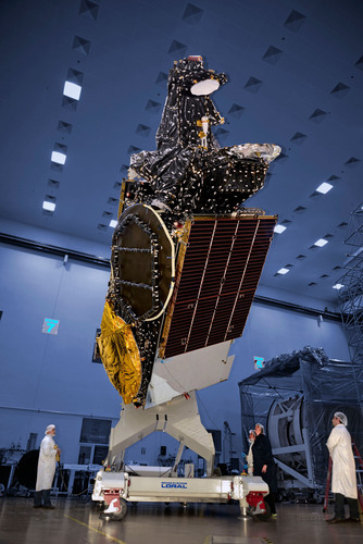 SSL-built satellite for Hispasat is shown here before it shipped to launch base. Photo courtesy of Space ...