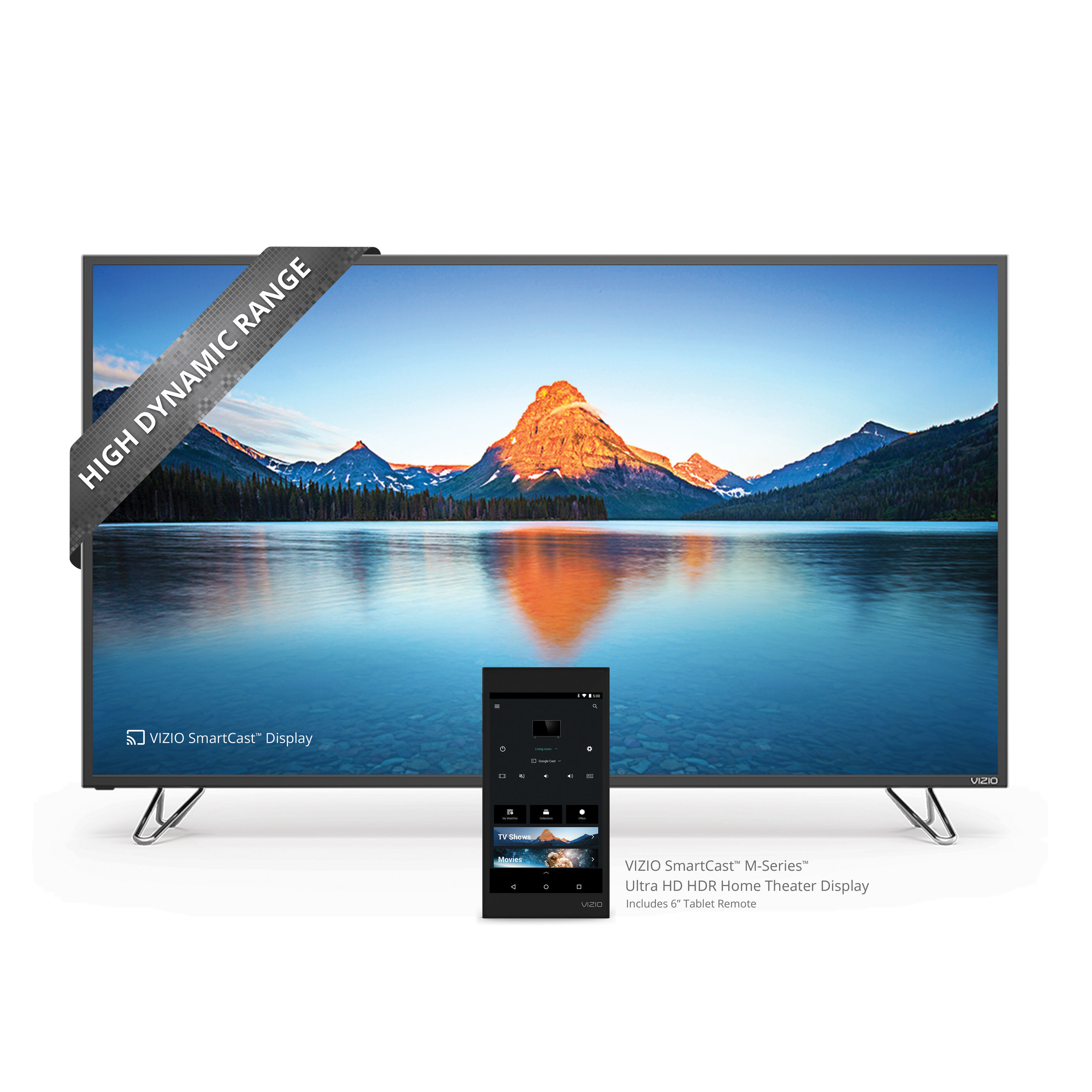 """VIZIO Expands Next Generation Smart Entertainment Ecosystem with introduction of All-New VIZIO SmartCast M-Series Ultra HD HDR Home Theater Display. Collection Offers Ultra HD Featuring High Dynamic Range with Dolby Vision Support and Includes a 6"""" Tablet Remote for Best-In-Class Entertainment Experience."""