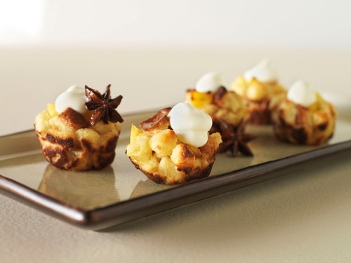 These bite sized bread puddings are impossible to resist! More recipes available at RealCaliforniaMilk.com.  ...