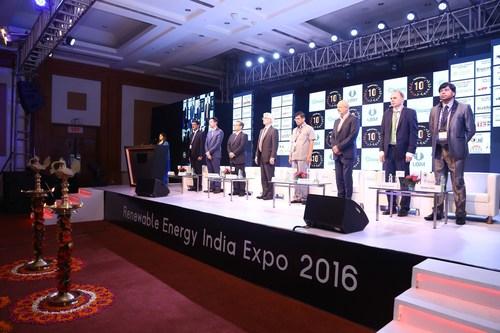 Key dignitaries at the inauguration of Renewable Energy India 2016 (PRNewsFoto/UBM India Pvt. Ltd.)