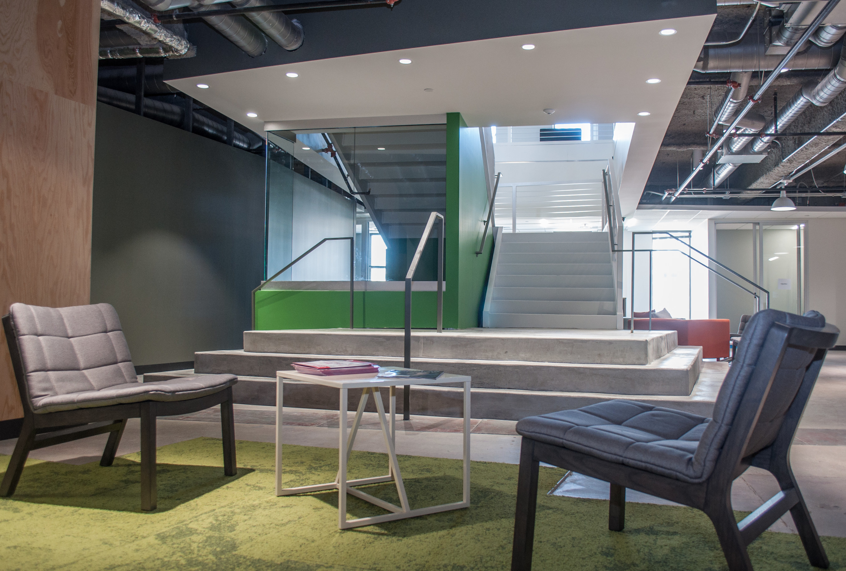 A focal point of EatStreet's new headquarters is an eye-catching staircase that connects the two floors to keep the entire team connected.