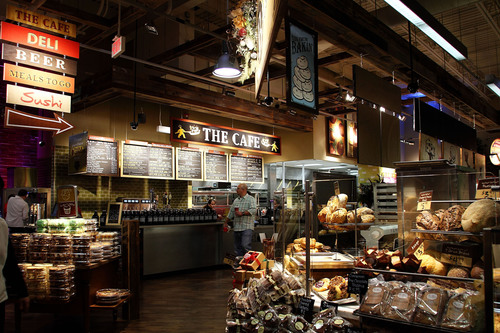 With an indoor seating area for 84 and an outdoor patio seating 46, the Market District Express restaurant ...