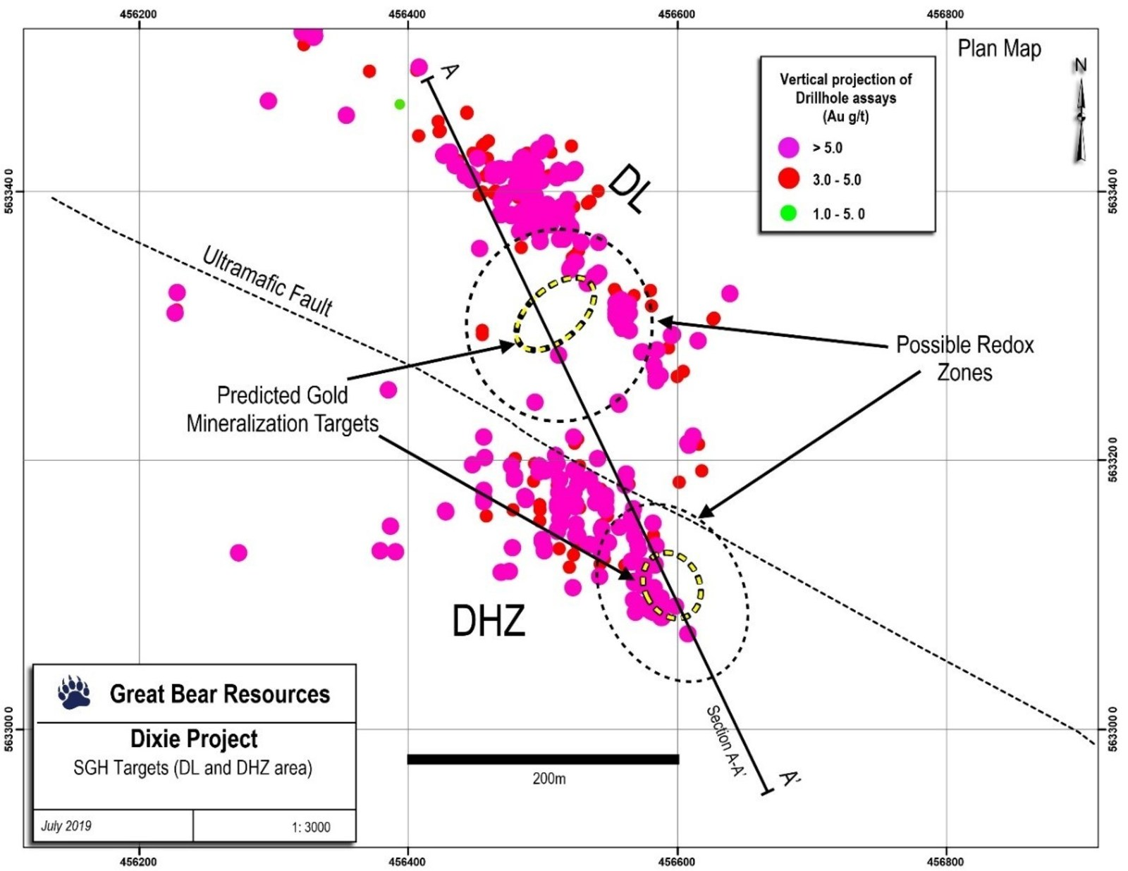 Figure 1: Successful SGH orientation soil/till survey results showing predicted bedrock gold targets below the Hinge and Dixie Limb Zones.