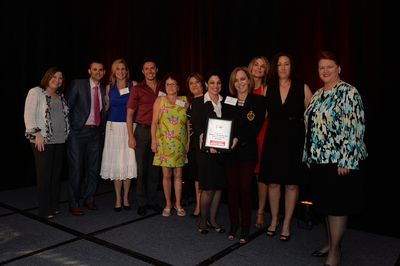 CEO of Sapoznik Insurance, Rachel Sapoznik, and company representatives of Nature's Products, Sandra Rosenberg-Stoller and Ampi Villar, along with Market President of Florida Blue, Penny Shaffer, share the stage as the South Florida Business Journal's recognizes Nature's Products as one of the healthiest employers. (PRNewsFoto/Sapoznik Insurance)