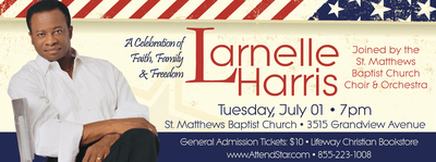 "Louisville's Hall of Fame Vocalist, Larnelle Harris to headline ""A Celebration of Faith, Family & Freedom"" at St. Matthews Baptist Church on Tuesday, July 01 at 7pm. (PRNewsFoto/Narrow Gate Productions)"