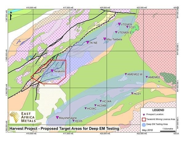 Harvest Project - Proposed Target Areas for Deep EM Testing (CNW Group/East Africa Metals Inc.)